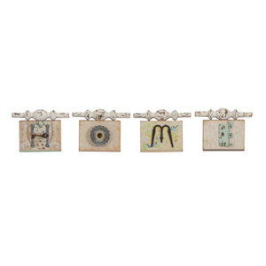 Davis Multicolor Found Object Home Wall Plaques, Set of Four