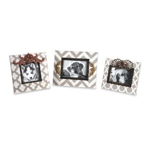 White and Gray Chevron Photo Frames, Set of Three