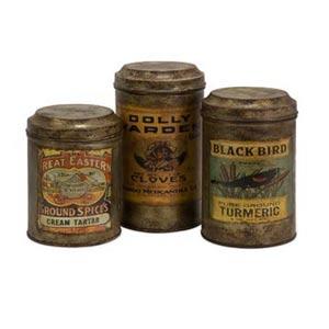 Addie Vintage Label Metal Canisters, Set of Three