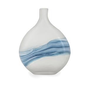 Mist White and Blue Small Art Glass Vase