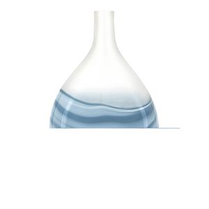 Mist White and Blue Large Art Glass Vase
