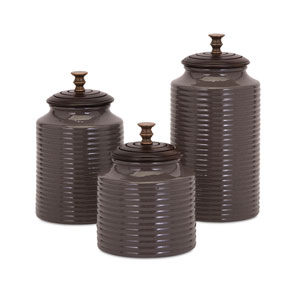 BAK Home Grey Lidded Canisters, Set of Three