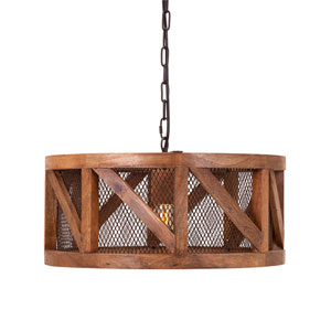 Kennedy Brown Onw-Light Wood and Wire Pendant Light