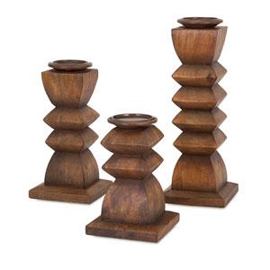 Desta Wood Candle Holders, Set of Three
