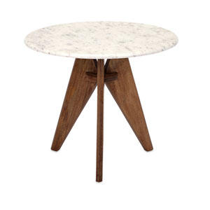 Febe White and Brown Tall Marble and Wood Table