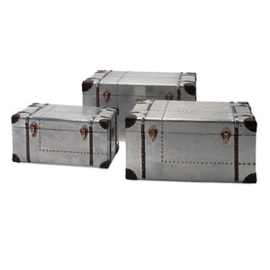 Brewer Grey Aluminum Trunks, Set of Three