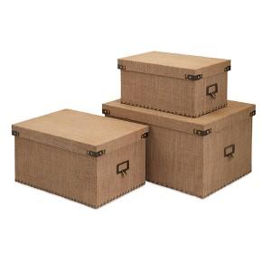 Corbin Tan Storage Boxes, Set of Three