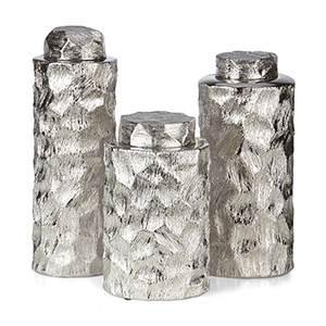 Cullen Silver Ceramic Container, Set of 3