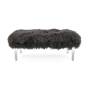 Gray Arden Tibetan Fur and Acrylic Bench