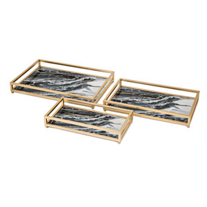 Contrast Faux Marble Decorative Trays, Set of 3