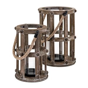 Basel Wood Lanterns - Set of 2 in Brown