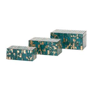 Glacier Teal and Gold Mosaic Boxes, Set of Three