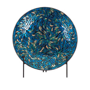 Peacock Blue Mosaic Charger and Stand