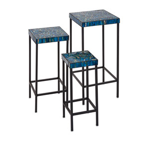 Peacock Blue Mosaic Tables, Set of Three