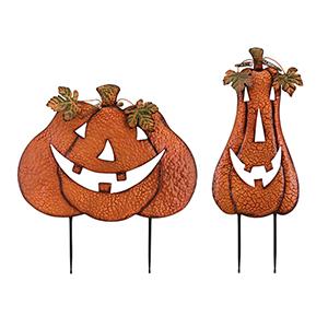 Ned Pumpkin Stakes Set of 2 in Orange