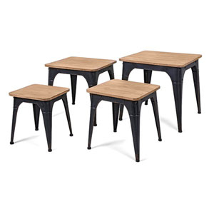 Harlow Wood and Metal Nesting Display Tables, Set of 4
