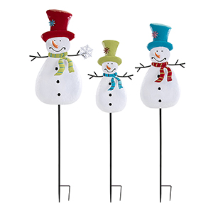 Whimsy Multicolor Snowman Yard Stake, Set of 3