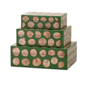 Peyton Green and Brown Wood Disc Boxes, Set of Three