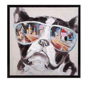 City Shades Dog: 34 x 34-Inch Framed Canvas
