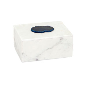 Piper White Marble Box with Agate