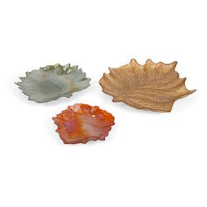 Harvest Multicolor Leaf Glass Plates, Set of Three