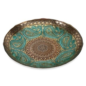Paisley Peacock Blue and Gold Glass Bowl