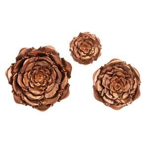 Blayney Bronze Metal Wall Flowers, Set Of Three