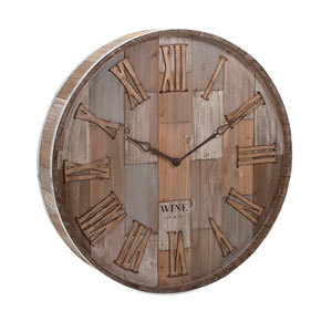 Wine Barrel Wood Wall Clock
