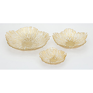 Calla Gold Glass Charger, Set of 3