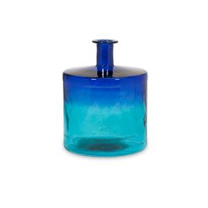 Luzon Blue Short Oversized Recycled Glass Vase