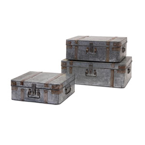 Teri Galvanized Suitcases , Set of 3
