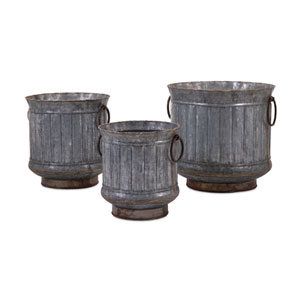 Griffin Galvanized Planters with Brass Edging  Set of 3