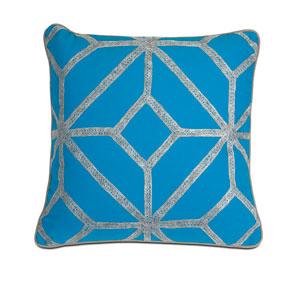 Blue and Gray Diamond 18-Inch Decorative Pillow