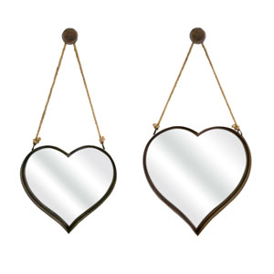 Heart Shape Wall Mirror - Set of Two
