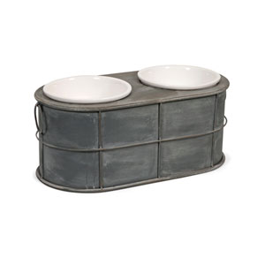Casoria Grey Pet Feeder with Ceramic Bowls