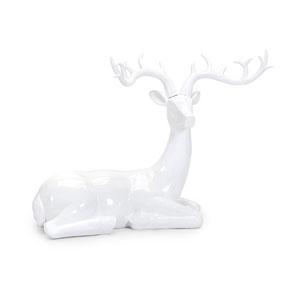 White Playful Sitting Reindeer