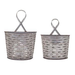 Parla Galvanized Wall Pockets , Set of 2