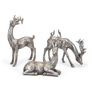Gold and Silver Christmas Reindeer, Set of 3