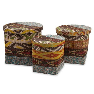 Tymon Multicolor Waterhyacinth Storage Basket with Lid, Set of Three