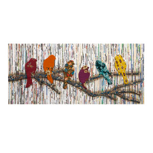 Camara Batik and Newspaper Bird: 24 x 54-Inch Wall Art