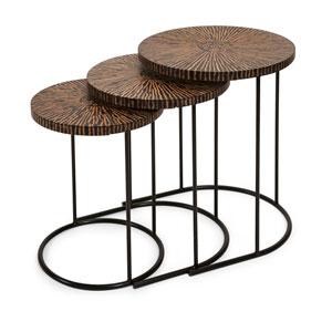 Hoki Brown Coco Shell Tables, Set of Three