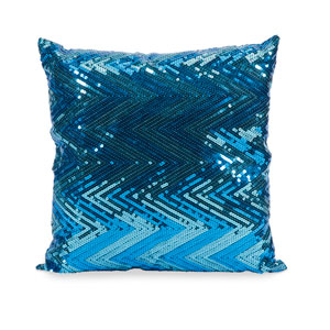 Estradin Blue Sequin 16-Inch Decorative Pillow