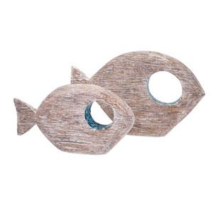 Akua Wood and Mosaic Fish , Set of 2