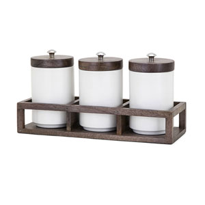 Christine Canisters in Wood Caddy, Set of 4