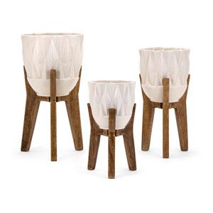 Amara Vases on Wood Stands, Set of 3