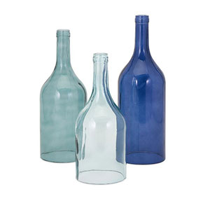 Monteith Blue Cloche Bottles, Set of Three
