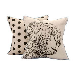 Sampson Beige and Black 18-Inch Sheep Embroidered Pillow