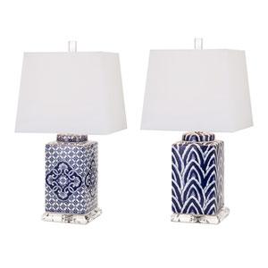 Carolina Hand-Painted Ceramic Lamps, Set of 2