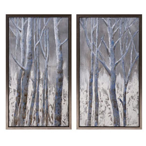 Frosted Framed Oil Painting on Metal, Set of 2