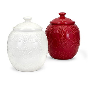 Homestead Red and White Snowflake Cookie Jar, Set of 2
